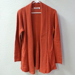 Orange cardigan sweater with fitted swing cut!